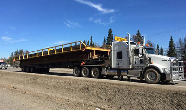 truck and flatbed trailer